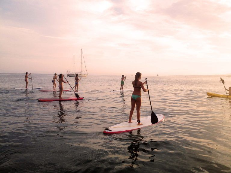 SUP tour, sunset, large group, boat